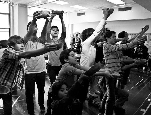 <p>The male ensemble members shove their bowls in the air for &quot&#x3B;Food, Glorious Food.&quot&#x3B;</p><br />(© David Gordon)