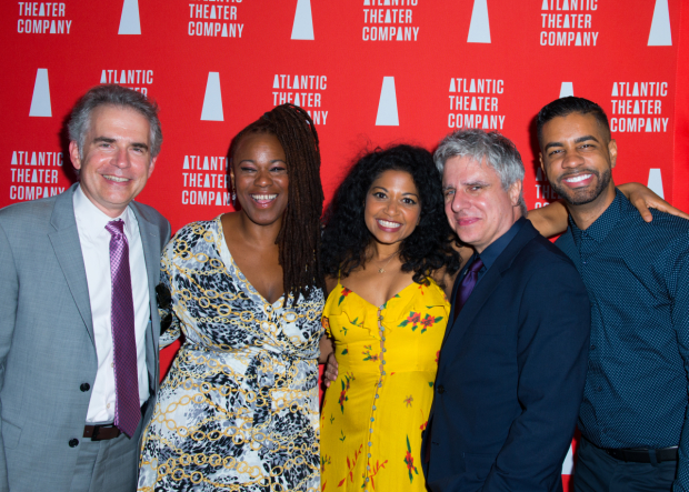 <p>The <em>Marie and Rosetta</em> team: playwright George Brant, stars Kecia Lewis and Rebecca Naomi Jones, director Neil Pepe, and musical director Jason Michael Webb.</p><br />(© Allison Stock)