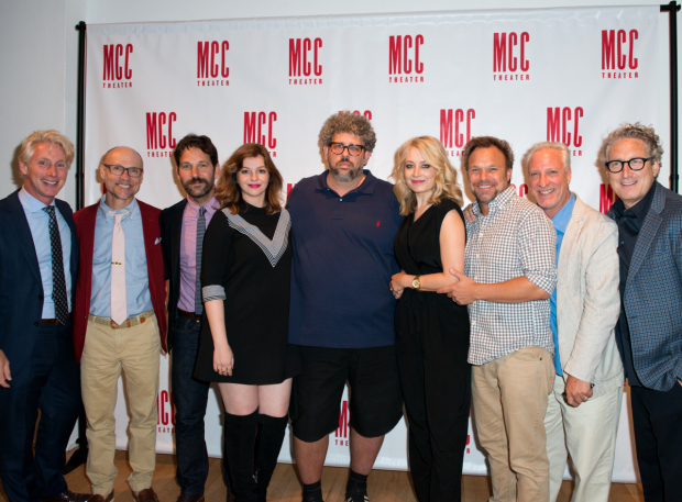 <p>The MCC artistic staff (Blake West, Will Cantler, Robert LuPone, and Bernard Telsey) join their cast and playwright for a commemorative snapshot.</p><br />(© Allison Stock)