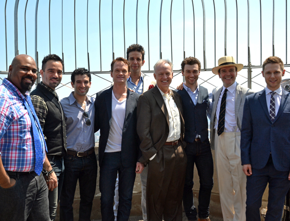 <p>From left: James Monroe Iglehart, Ramin Karimloo, Jarrod Spector, Neil Patrick Harris, Nick Cordero, Reed Birney, Bryce Pinkham, Jefferson Mays, and Samuel Barnett.</p><br />(© David Gordon)