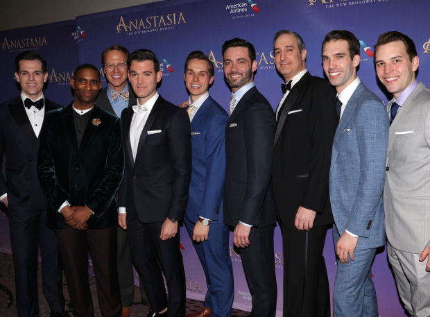 <p>The men of <em>Anastasia</em>&#39&#x3B;s ensemble.</p><br />(© David Gordon)