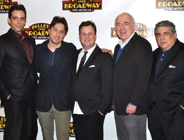<p>The men of <em>Bullets Over Broadway</em>: Nick Cordero, Zach Braff, Brooks Ashmanskas, Lenny Wolpe, and Vincent Pastore.</p><br />(© David Gordon)