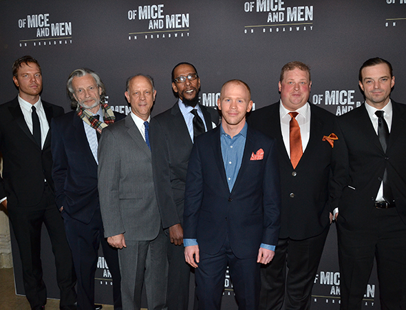 <p>The men of <em>Of Mice and Men</em>: Jim Parrack, Stephen Payne, Jim Ortlieb, Ron Cephas Jones, Alex Morf, Joel Marsh Garland, and James McMenamin.</p><br />(© David Gordon)