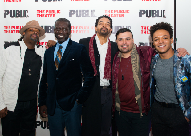 <p>The men of <em>Party People</em>: Steven Sapp, Oberon K.A. Adjepong, Horace V. Rogers, William Ruiz a.k.a. Ninja, and Christopher Livingston.</p><br />(© Allison Stock)