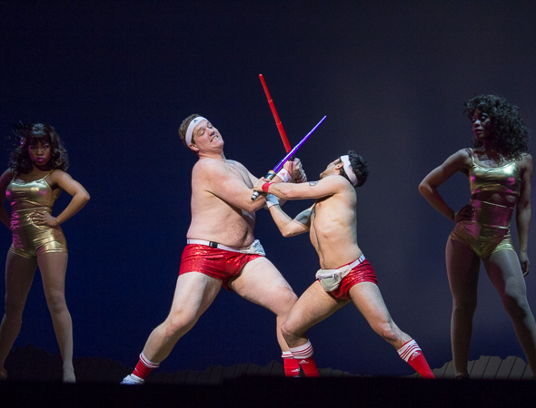 <p>The men of <em>The Lion King</em> duke it out onstage.</p><br />(© Seth Walters)