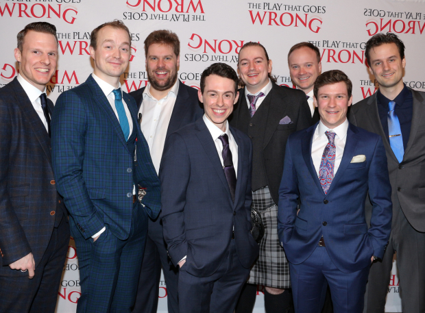 <p>The men of <em>The Play That Goes Wrong</em> toast their opening night in style.</p><br />(© David Gordon)