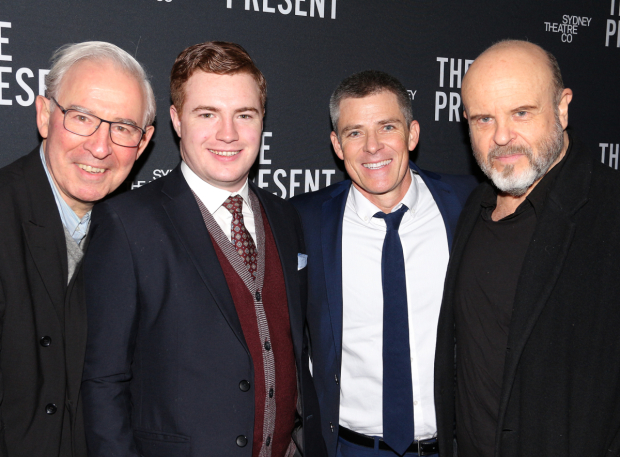 <p>The men of <em>The Present</em>, David Downer, Brandon McClelland, Andrew Buchanan, and Marshall Napier, arrive at the opening-night party.</p><br />(© David Gordon)