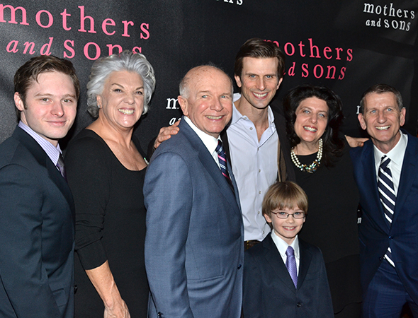 <p>The <em>Mothers and Sons</em> family: Bobby Steggert, Tyne Daly, Terrence McNally, Frederick Weller, Grayson Taylor, Sheryl Kaller, and Tom Kirdahy.</p><br />(© David Gordon)