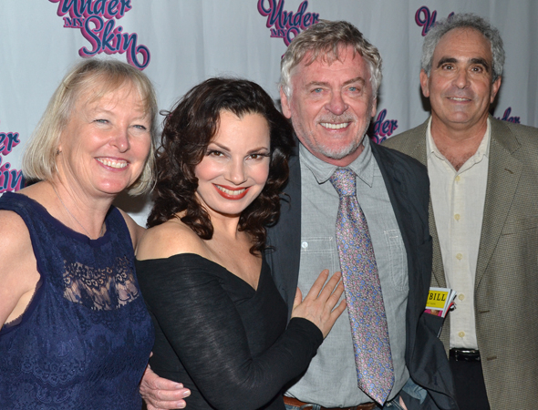 <p><em>The Nanny</em> stars Fran Drescher and Daniel Davis join <em>Under My Skin</em> playwrights Prudence Fraser (left) and Robert Sternin (right) for a photo.</p><br />(© David Gordon)
