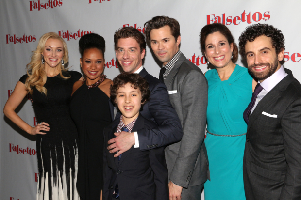 <p>The new tight-knit family of the <em>Falsettos</em> revival is proud to celebrate opening night.</p>