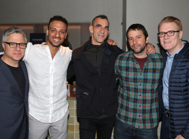 <p>The nominated <em>Band&#39&#x3B;s Visit</em> team: Neil Pepe, Ari&#39&#x3B;el Statchel, Jamshied Sharifi, Itamar Moses, and Jeffory Lawson.</p><br />(© David Gordon)
