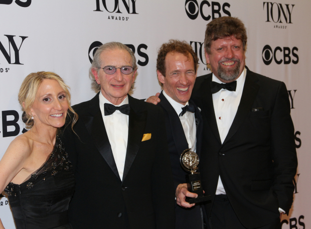 <p>The overjoyed producers of <em>Hamilton</em>: Jill Fuhrman, Sander Jacobs, Jeffery Seller, and Oskar Eustis.</p><br />(© David Gordon)