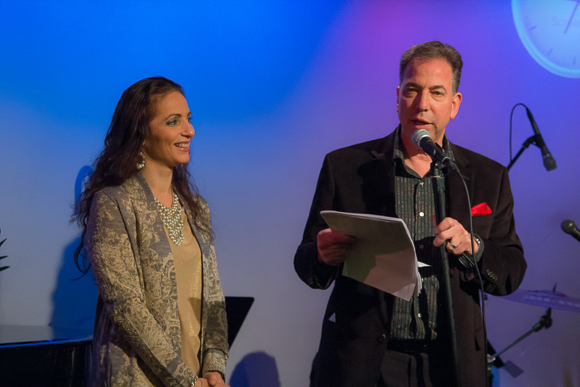 <p>The owner of The Metropolitan Room, Bernie Furshpan, and his wife, Joanne Furshpan, start off the event.</p><br />(© Seth Walters)