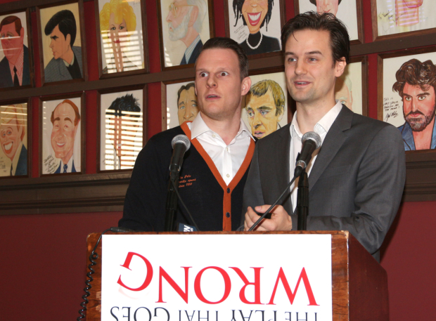 <p><em>The Play That Goes Wrong</em> cast members Dave Hearn and Henry Shields attempt a press conference to talk about their production.</p><br />(© David Gordon)