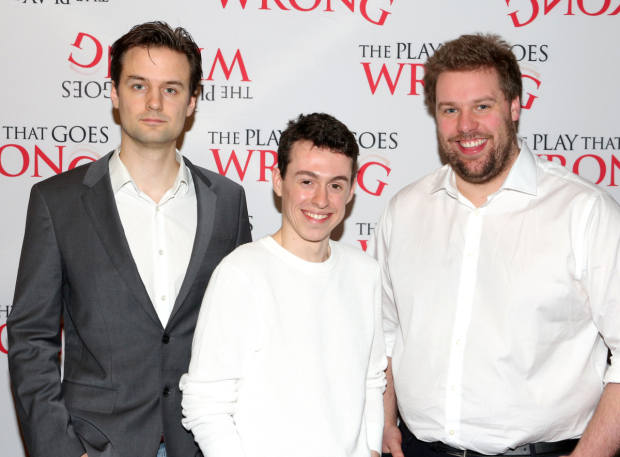 <p><em>The Play That Goes Wrong</em> is written by Henry Shields, Jonathan Sayer, and Henry Lewis.</p><br />(© David Gordon)