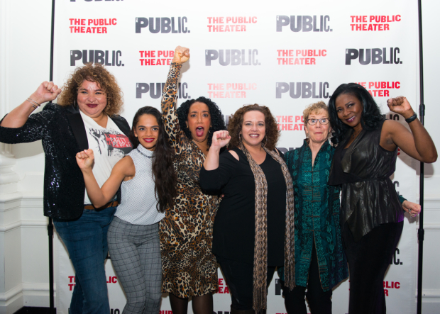 <p>The women of <em>Party People</em>: Liesl Tommy, Gisel Jimenez, Sophia Ramos, Mildred Ruiz-Sapp, Robynn Rodriguez, and Ramona Keller.</p><br />(© Allison Stock)