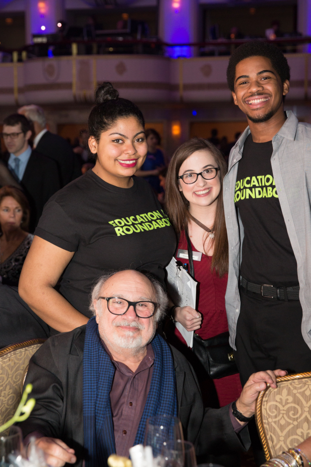 <p><em>The Price</em> star Danny DeVito poses with students from Roundabout's Education program.</p><br />(© Kelly Kollar)