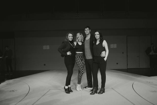 <p>The primary cast of <em>American Psycho</em>: Alice Ripley, Heléne Yorke, Benjamin Walker, and Jennifer Damiano.</p><br />(© Allison Stock)