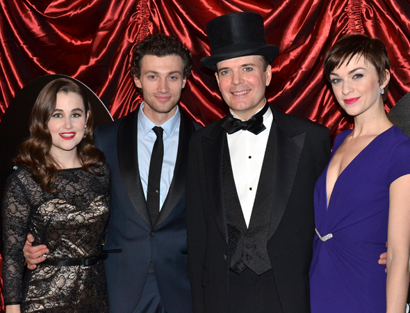 <p>The principal cast of <em>A Gentleman&#39&#x3B;s Guide to Love and Murder</em>: Lauren Worsham, Bryce Pinkham, Jefferson Mays, and Lisa O&#39&#x3B;Hare.</p><br />(© David Gordon)