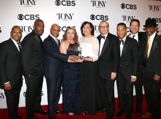 <p>The producing team behind <em>Jitney</em>, the Best Revival of a Play winner.</p><br />(© David Gordon)