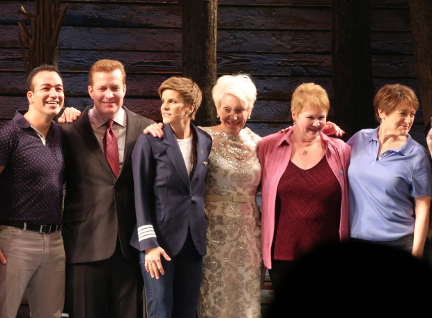 <p>The real-life counterparts of the <em>Come From Away</em> characters take the stage.</p><br />(© David Gordon)