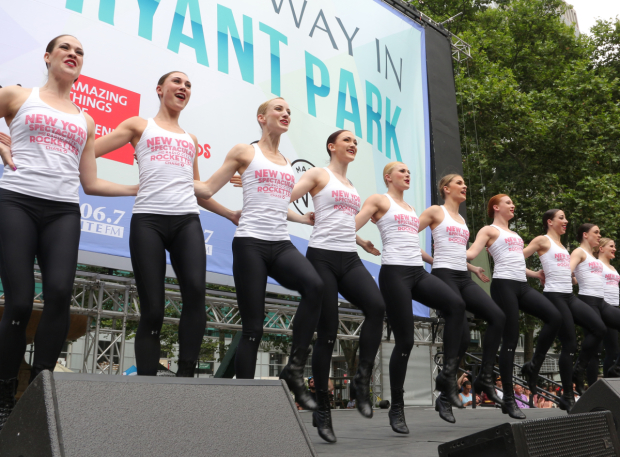 <p>The Rockettes kick off <em>Broadway in Bryant Park</em> with a dance from Radio City Music Hall&#39&#x3B;s <em>New York Spectacular</em>.</p><br />(© David Gordon)