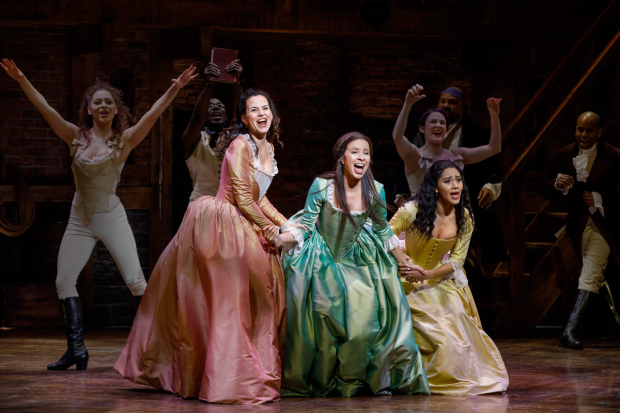 <p>The Schuyler sisters: Mandy Gonzalez, Lexi Lawson, and Joanna A. Jones.</p><br />(© Joan Marcus)