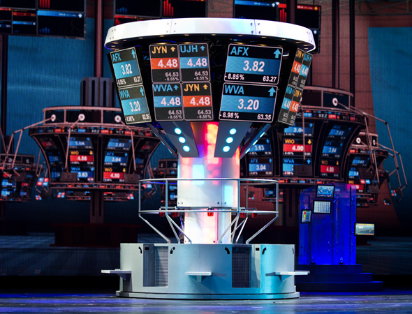 <p>The set for the &quot&#x3B;High Finance&quot&#x3B; sequence of <em>Hearts and Lights</em>.</p><br />(© David Gordon)