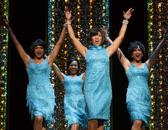 <p>The Shirelles (L-R: Carly Hughes, Alysha Deslorieux, Rashidra Scott, and Ashley Blanchet)</p><br />(© Joan Marcus)