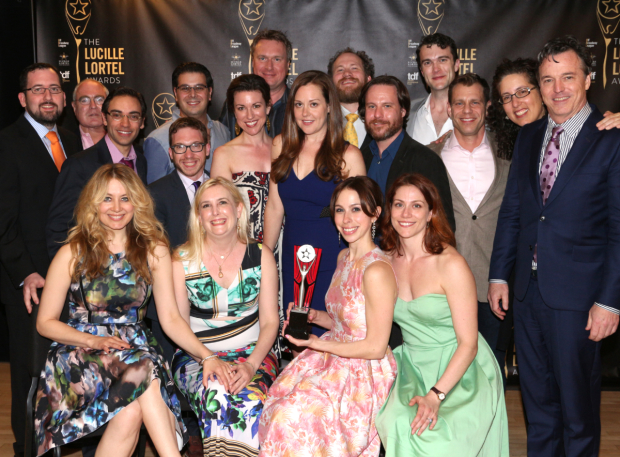 <p>The stars and creative team behind Fiasco Theater&#39&#x3B;s <em>Into the Woods</em> celebrate their Outstanding Revival win.</p><br />(© David Gordon)