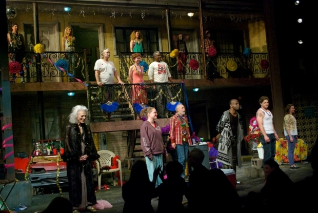 <p>The stars of <em>Airline Highway</em> take their opening-night bows.</p><br />(© Kristin Goehring)