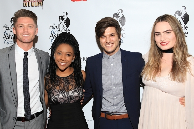 <p>The team behind <em>Spring Awakening</em>: choreographer Spencer Liff and cast members Treshelle Edmond, Alex Boniello, and Kathryn Gallagher.</p><br />(© Tricia Baron)