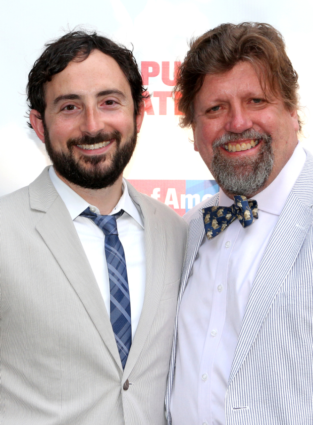 <p><em>The United States of Shakespeare</em> director Jeremy McCarter shares a photo with Public Theater artistic director Oskar Eustis.</p><br />(© David Gordon)