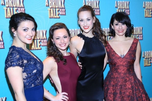 <p>The women of <em>A Bronx Tale</em>, Kirstin Tucker, Brittany Conigatti, Kaleigh Cronin, and Michelle Aravena smile for the camera.</p><br />(© Tricia Baron)