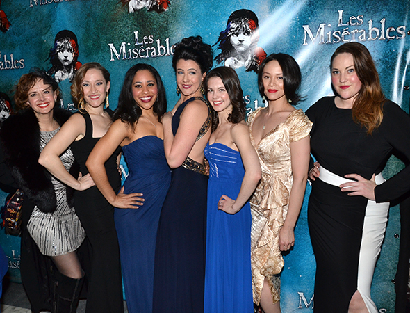 <p>The women of the <em>Les Mis</em> ensemble show off their opening-night finest.</p><br />(© David Gordon)