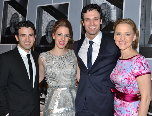 <p>The wonderful principals of <em>Beautiful</em>: Jarrod Spector (Barry Mann), Jessie Mueller (Carole King), Jake Epstein (Gerry Goffin), and Anika Larsen (Cynthia Weil).</p><br />(© David Gordon)