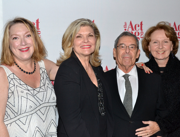 <p>Theater director Nicholas Martin is flanked by his lovely ladies, actresses Kristine Nielsen, Debra Monk, and Kate Burton.</p><br />(© David Gordon)