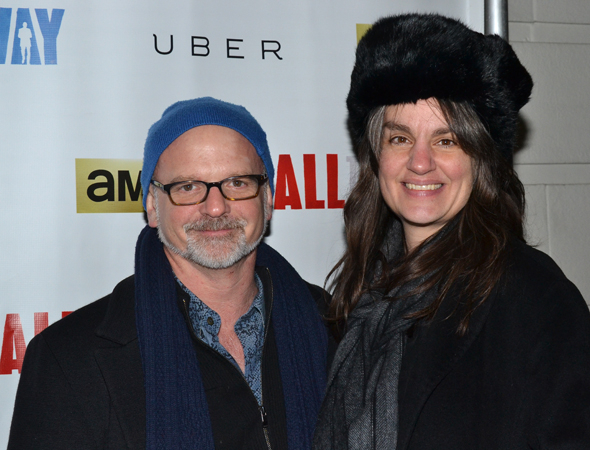 <p>Theater directors Michael Wilson and Pam MacKinnon show off their weather-appropriate winter hats.</p><br />(© David Gordon)
