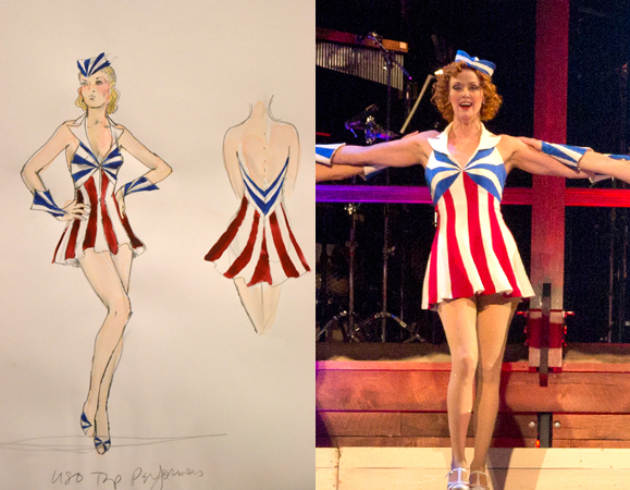 "<p>""There's a lot of faded red, white, and blue"" in the production, Long says. ""These are supposed to be showgirls, so I use a showgirl pose [in the sketches].""</p><br />(© David Gordon&#x3B; Paul Kolnik)"