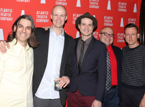 <p><em>These Paper Bullets!</em> cast members Lucas Papaelias, Adam O&#39&#x3B;Byrne, Bryan Fenkart, Tony Manna, and Brad Heberlee smile for the cameras.</p><br />(© David Gordon)