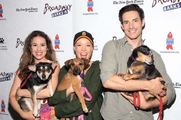 <p>This <em>Beautiful</em> trio of Chilina Kennedy, Jessica Keenan Wynn, and Scott J. Campbell spend the afternoon at <em>Broadway Barks</em>.</p><br />(© Tricia Baron)