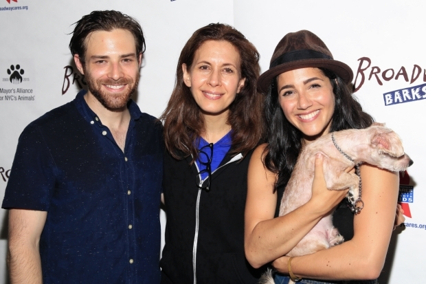 <p>This puppy is too adorable for <em>Fiddler on the Roof</em> stars Ben Rappaport, Jessica Hecht, and Samantha Massell.</p><br />(© Tricia Baron)
