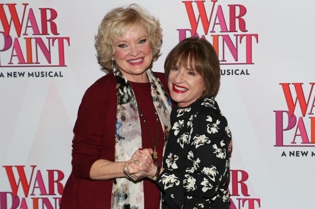 <p>Though rivals onstage, Christine Ebersole and Patti LuPone take the time to enjoy each other&#39&#x3B;s company off.</p><br />(© Tricia Baron)