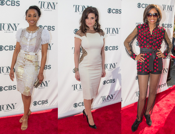 <p>Three of Broadway&#39&#x3B;s leading ladies — Anika Noni Rose, Idina Menzel, and Adriane Lenox — look fabulous on the red carpet.</p><br />(© Seth Walters)