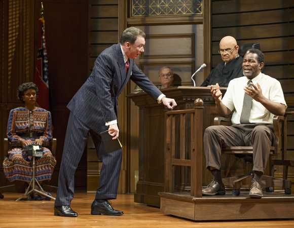 <p>Tijuana Ricks, Patrick Page (playing District Attorney Rufus R. Buckley), Fred Dalton Thompson (Judge Noose), and John Douglas Thompson (Carl Lee Hailey) in <em>A Time to Kill</em>.</p><br />(© Carol Rosegg)