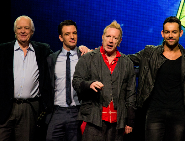 <p>Tim Rice poses with cast members JC Chasez, Johnny Rotten, and Ben Forster.</p><br />(© David Gordon)