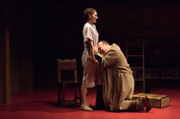 <p>Tina Benko and Danny Burstein in a scene from <em>Describe the Night</em>.</p><br />(© Ahron R. Foster)