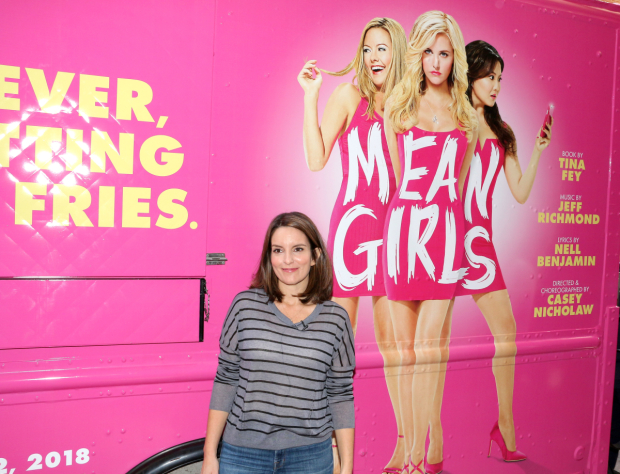 <p>Tina Fey poses in front of the <em>Mean Girls</em> cheese fries truck.</p><br />(© David Gordon)