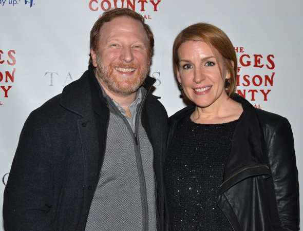 <p><em>[title of show]</em> pals Hunter Bell and Susan Blackwell are thrilled to check out a new Broadway musical.</p><br />(© David Gordon)