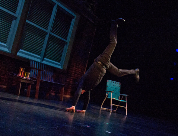 <p>To the delight of the audience, Crystal shows off how spry he is at 65, doing a full cartwheel onstage.</p><br />(© David Gordon)